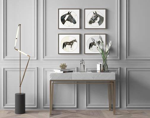 端景台, 摆件组合, 落地灯, 装饰画, 花瓶