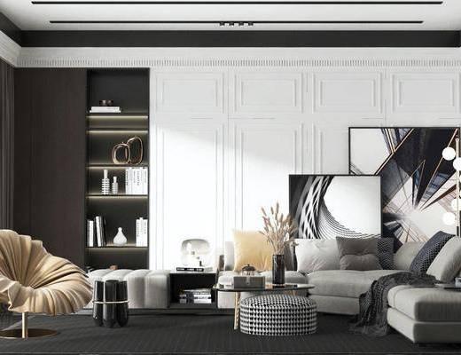 沙發組合, 茶幾, 單椅, 擺件組合, 裝飾畫