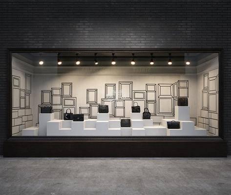 橱窗, 箱包, 手提包, 现代, 展柜