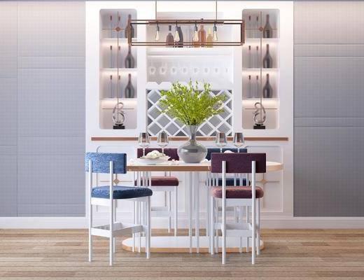 现代北欧餐桌椅酒柜, 酒柜, 餐桌, 单椅, 盆栽, 现代