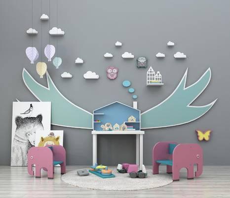 玩具组合, 儿童玩具, 儿童椅子, 装饰画, 墙饰, 陈设品