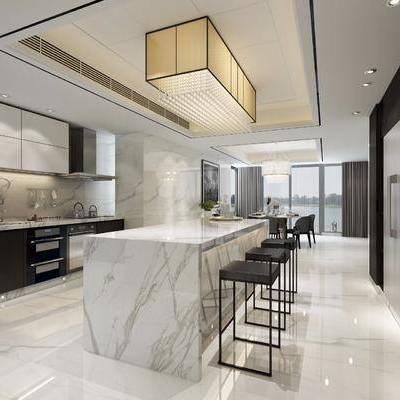 现代吧台厨房, 现代, 餐厅, 吧台, 厨房, 椅子