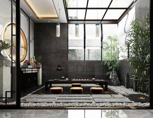茶室, 茶桌, 竹子, 边柜, 盆栽, 台灯, 吊灯, 装饰品, 陈设品, 新中式