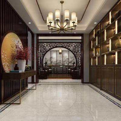 玄关, 门头, 中式, 新中式, 置物柜, 装饰柜, 端景台, 花瓶, 吊灯