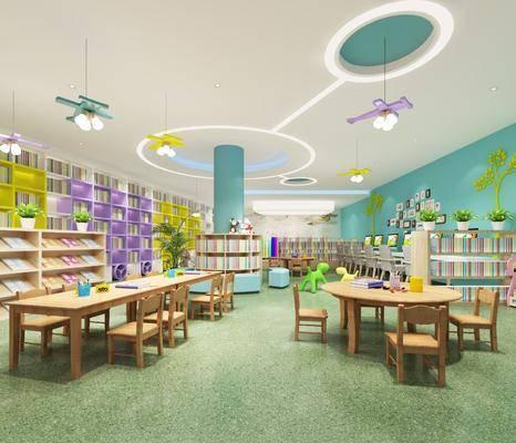 图书馆室, 桌子, 单人椅, 装饰柜, 摆件, 装饰品, 陈设品, 现代