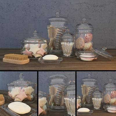 玻璃瓶子, 梳子, 浴室洗浴, 现代