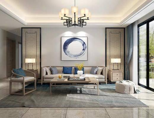 客厅, 餐厅, 沙发组合, 沙发茶几组合, 餐桌椅组合, 新中式客餐厅