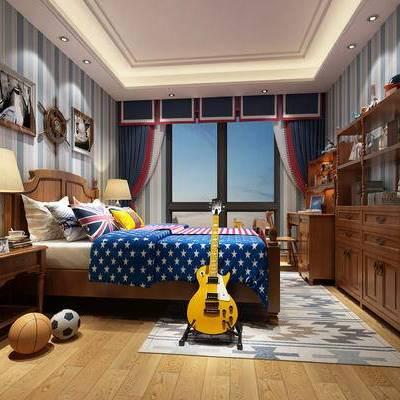 地中海卧室儿童房, 地中海, 地中海卧室, 地中海儿童房, 吉他, 篮球, 足球
