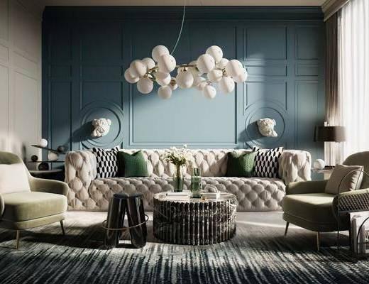 沙发组合, 茶几, 单椅, 吊灯, 落地灯, 窗帘