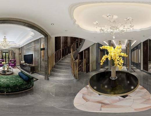 客厅, 后现代, 沙发组合, 沙发茶几组合, 桌子, 花瓶, 多人沙发, 吊灯