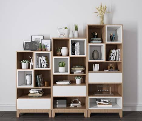 书柜书架, 书籍, 摆件, 装饰品, 北欧