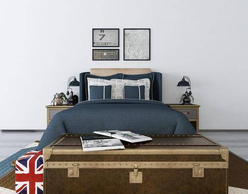 双人床, 卧室, 台灯, 床尾凳, 装饰画, 组合画, 工业风