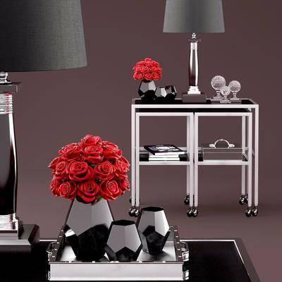 现代边几, 花瓶, 台灯, 现代