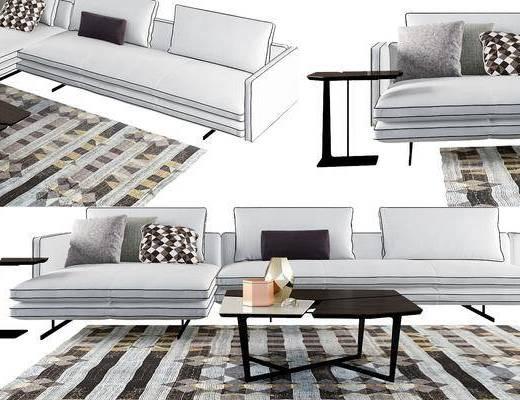 沙发组合, 沙发, 转角沙发, 茶几, 边几, 摆件, 装饰品, 现代