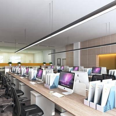 办公区, 单人椅, 摆件, 吊灯, 现代