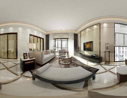 客厅, 多人沙发, 茶几, 躺椅, 单人沙发, 边几, 台灯, 茶桌, 凳子, 茶具, 电视柜, 边柜, 装饰画, 挂画, 新中式