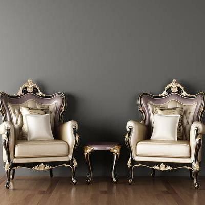 欧式沙发, 雕花沙发, 茶几