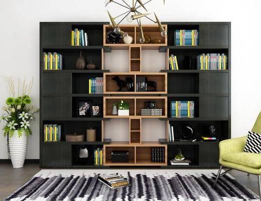 书柜, 装饰柜, 边柜, 盆栽, 单人椅, 休闲椅, 书籍, 摆件, 装饰品, 陈设品, 吊灯, 现代