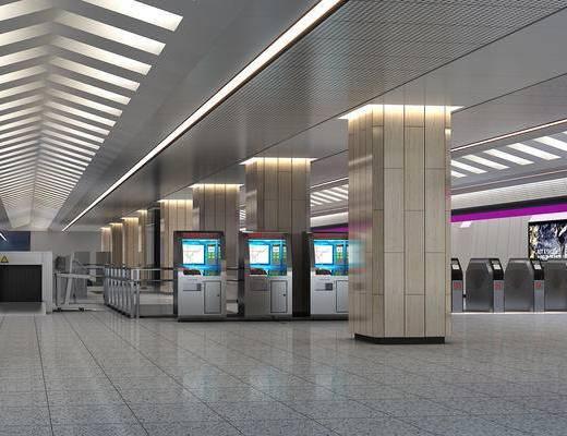 地铁站, 车站, 通道, 地铁