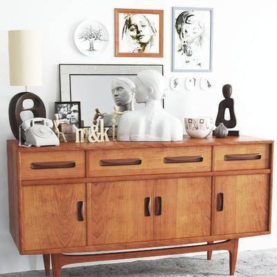边柜, 储物柜, 装饰柜, 置物柜, 雕塑, 挂画, 台灯, 摆件, 陈设品, 电话, 现代