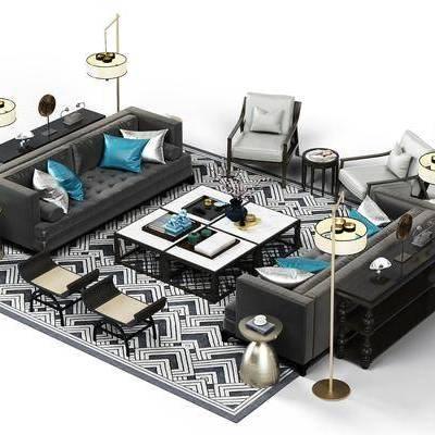 多人沙发, 沙发, 茶几, 摆件, 落地灯, 现代