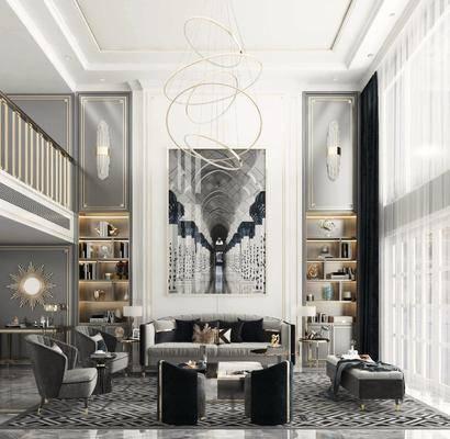 沙發組合, 裝飾畫, 吊燈, 茶幾, 壁燈, 擺件組合, 桌椅組合