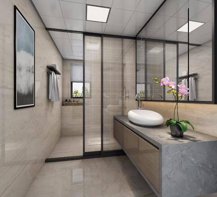 卫生间, 洗手台, 装饰画, 挂画, 壁画, 花洒, 新中式