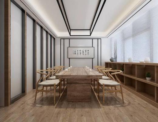 中式, 中式会议室, 会议室, 会议桌, 边柜, 挂画