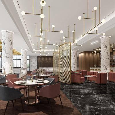 后现代酒店餐厅咖啡厅, 后现代, 酒店, 餐厅, 咖啡厅, 休闲桌椅, 吧台, 现代吊灯