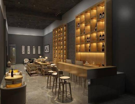 茶室, 茶桌, 单人椅, 吧台, 吧椅, 装饰柜, 装饰画, 挂画, 酒柜, 多人沙发, 茶几, 单人沙发, 边几, 摆件, 酒瓶, 装饰品, 陈设品, 新中式