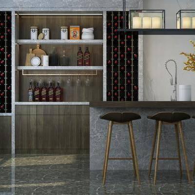 酒柜, 吧台, 吧椅, 现代