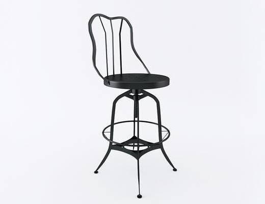 美式简约, 工业风格, 黑色椅子, 椅子