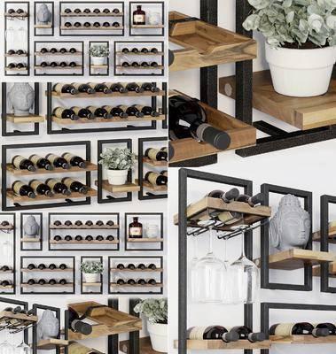 现代酒架酒水酒瓶酒杯盆栽佛头摆件组合, 现代, 酒架, 酒瓶, 酒杯