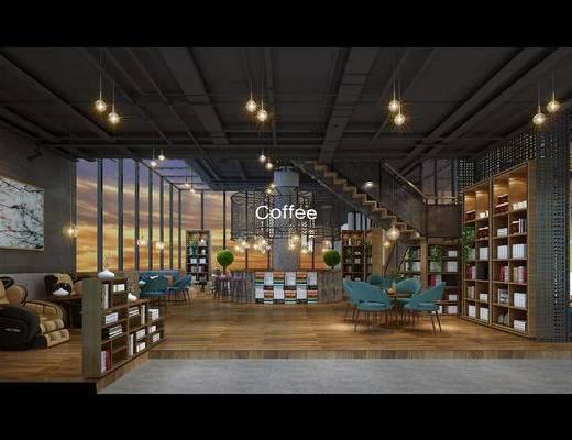 现代, 后现代, 工业风, 咖啡厅, 办公场所