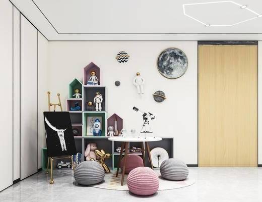玩具, 桌椅组合, 画架, 墙饰, 置物柜