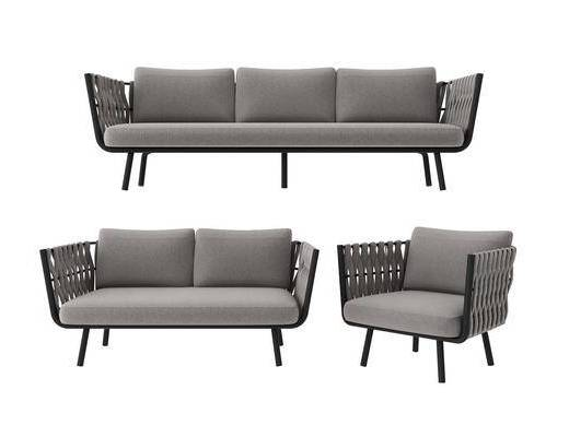 现代, 户外, 沙发, 组合