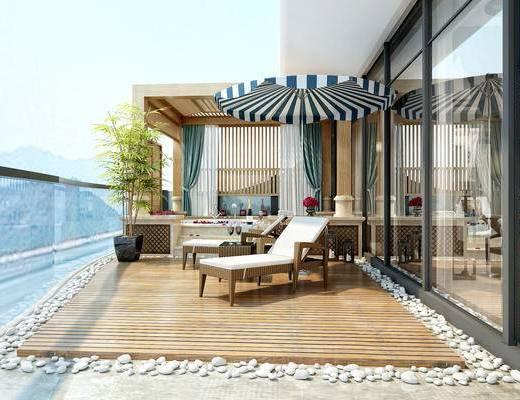 东南亚, 室外, 休闲区, 工装, 家装