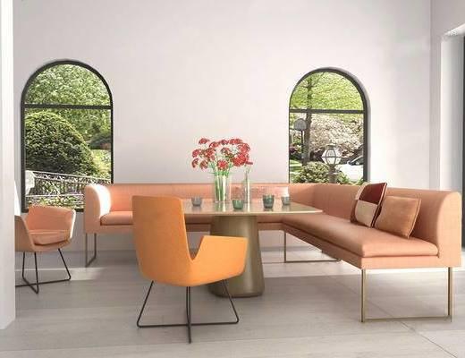 沙发组合, 茶几, 摆件组合, 单椅, 抱枕