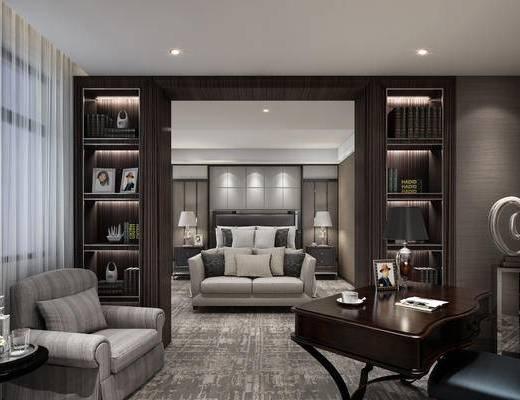 北欧卧室, 书房, 卧室, 现代, 单人沙发, 桌子, 椅子, 床尾凳, 床, 床头柜