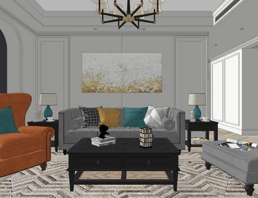 美式客厅, 餐厅, 卧室, 吊灯