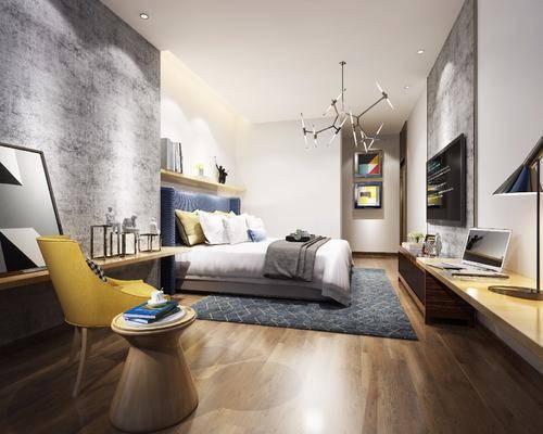 卧室, 双人沙发, 电视柜, 装饰柜, 边柜, 置物架, 台灯, 单人椅, 吊灯, 装饰画, 挂画, 边几, 摆件, 装饰品, 陈设品, 工业风