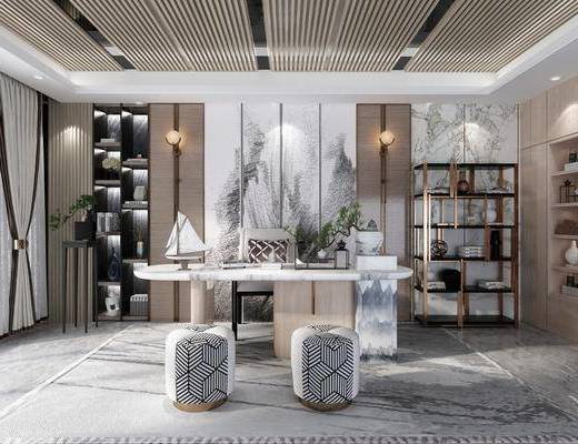 新中式书房, 桌椅组合