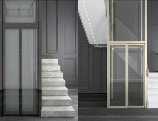 現代電梯, 電梯, 樓梯