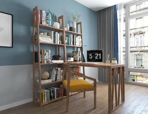 北欧书桌, 北欧单人椅, 电脑类, 书籍, 北欧盆栽, 台灯, 植物, 北欧