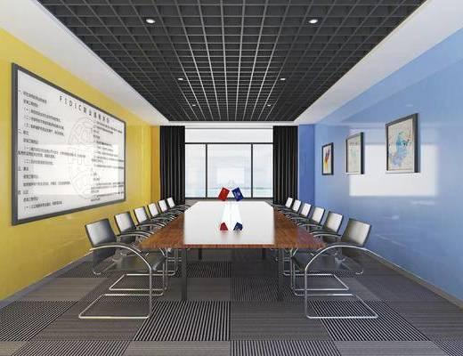 会议室, 会议桌, 办公椅, 单椅, 装饰画