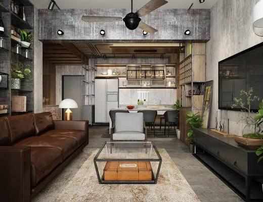 工业风, loft, 客厅, 沙发茶几组合, 电视柜, 风扇, 餐桌椅
