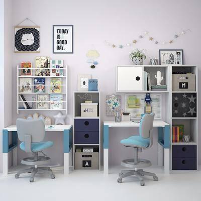书桌, 桌椅组合, 书籍, 墙饰