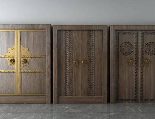 双开门, 实木门, 中式