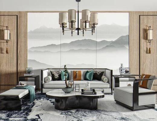 沙发, 单人椅, 矮凳, 茶几, 饰品摆件, 壁灯, 吊灯