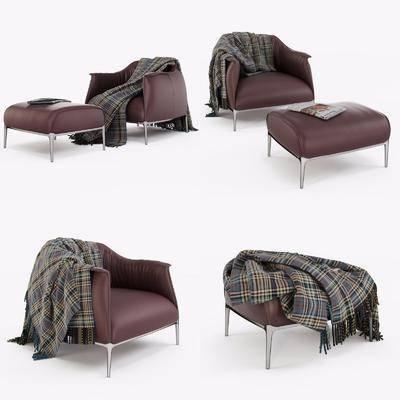 休闲椅, 脚踏, 围巾, 皮革, 现代